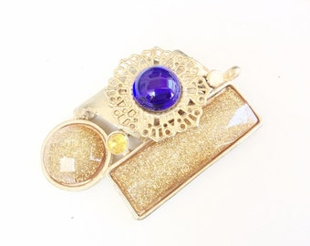 Gold glitter and blue cabochon Statement pendant vintage retro jewelry