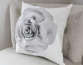 Grey Rose Throw Pillow on White , Pillow Cover, Gray Flower Pillow Cover - Nursery Pillows - Dove Gray Accent Pillows - 3D Flower Pillows