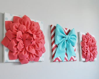 Vibrant Canvas Wall Art Set, Colorful Nursery Decor, Contemporary Fabric Floral Art Bright Wall Art Girl, Teen, Tween, Dorm, Bathroom Art