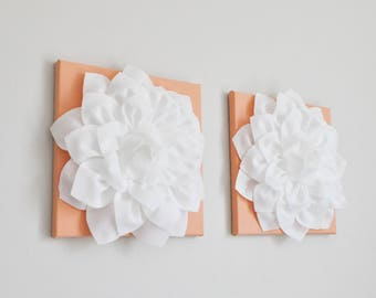 Bathroom Wall Art Bathroom Decor Floral Flower Decor Art Set of 2, Home Decor Canvas Relaxing Art, Nursery Canvas Set, Peach White Wall Art