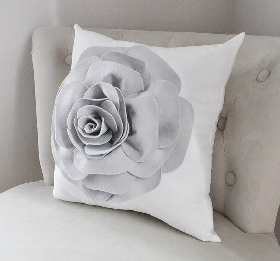 Grey Rose Throw Pillow on White , Pillow Cover, Gray Flower Pillow Cover - Nursery Pillows - Dove Gray Accent Pillows - 3D Flower Pillows