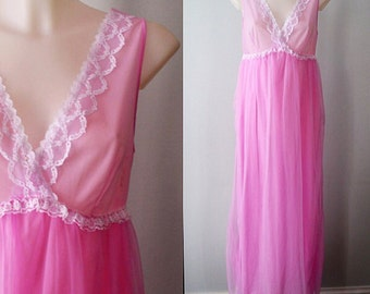 Vintage Chiffon Nightgown, 1960s Nightgown, Pink Orchid Chiffon Nightgown, Slumber Suzy, Romantic Nightgown, Vintage Lingerie