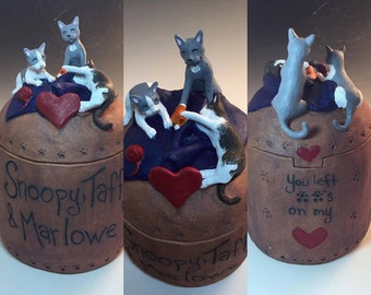 Custom Cat Urn for Three Animals- Three cat urn, any breed, any small animal