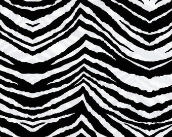 Party Animal in Black, Michael Miller Fabric, Black and White Zebra Stripe Fabric, 1 Yard