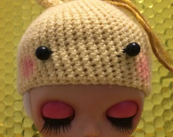 Yellow bunny hat for blythe dolls