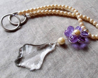 SET OF 2 Girls room lilac decorative curtain tiebacks faux pearls, glass crystals flowers drapery holders - tie backs curtain, vintage drops
