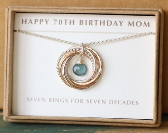 70th birthday gift for mom, aquamarine necklace, March birthstone jewelry for mother gift - Lilia