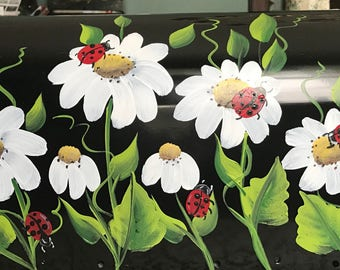 rural residential Hand Painted mailbox LADYBUGS and DAISIES mailbox UV Resistant mediums, large or standard painted mailbox