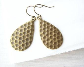 Simple Brass Drop  Earrings - Teardrop, Honeycomb, Modern Jewelry, Geometric, Textured, Gold Toned, Metal, Antiqued