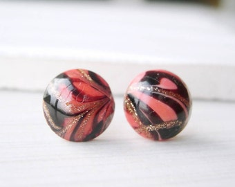 Titanium Post Earrings - Salmon Pink, Gold Glitter, Nickel Free Jewelry, Black, Studs, Glass, Retro