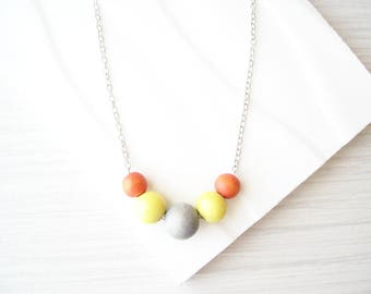 Modern Wood Necklace, Orange, Yellow, 5th Anniversary Gift, Nickel Free Sterling Silver Option, Simple Jewelry, Summer, Grey, Multicolor