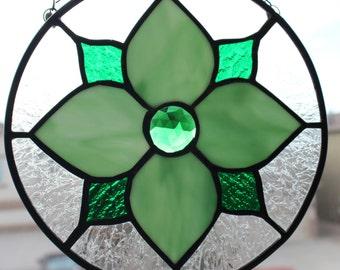 STAINED GLASS SUNCATCHER- Green Flower Design, Under 40 Gift, Wedding, Birthday, Small Gift, Round Stained Glass, Window Decor, Suncatcher