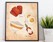 Filipino Breakfast - Spam and Rice - Food Art - Kitchen - Wall Art Print