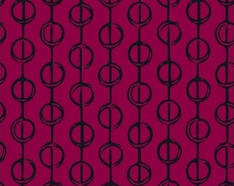 Hand Maker by Natalie Barnes for Windham Fabrics - Full or Half Yard Raspberry and Black Modern Geometric Circles/Lines - Beyond the Reef