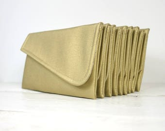 Set of  simple gold bridesmaid clutches | simple gold purse | gold wedding clutch