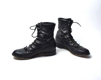 Black Justin Lacer Boots, Men's Size 9.5 D
