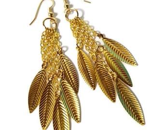 Gold Dangle Earrings, Boho Feather Earrings, Long earrings, Gold Jewelry