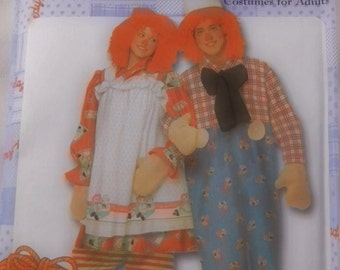 Simplicity Costume Raggedy Ann & Andy Costues for Adults Size XS,S,M,L,XL  Uncut/FF