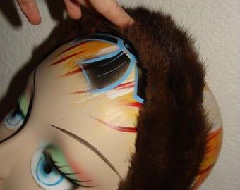 Mink Dark Brown Head Band 40-50-60's Mid Century Ladies Hair Accessory Vintage Fur Hat