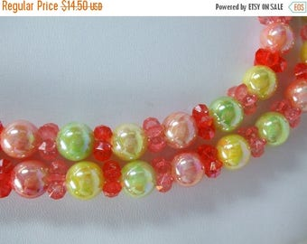 SALE 50% OFF Vintage Double Strand Bead Necklace  Bright Coloredd Round shaped beads