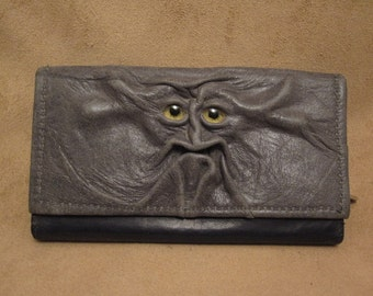 "Grichels leather ladies wallet - ""Lagips"" 27870 - gray with yellow carousel horse eyes"