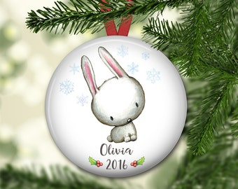 personalized Christmas ornaments for baby - baby's first christmas ornament - bunny Christmas ornaments for kids - ORN-PERS-6