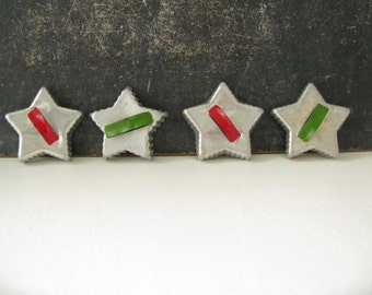 Vintage Cookie Cutters Painted, Star Cookie cutters, four, set, christmas decor