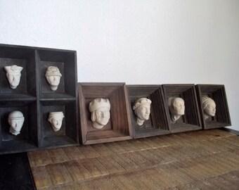 Set of Five Miniature Framed Plaster Head Sculptures