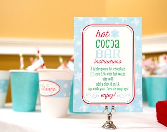 Hot Chocolate Bar Sign - Hot Cocoa Bar Welcome Sign - Winter Birthday Party Sign