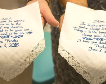 Special Wedding Gifts for Mom and Future Mother In Law & Mother of the Bride Embroidered Wedding Hankerchief by Canyon Embroidery