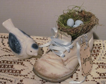 Baby Shoe with Bird Nest and Blue Clay Eggs