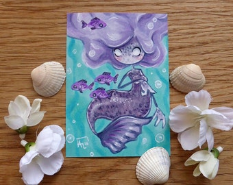 PRINT ACEO - River the mermaid