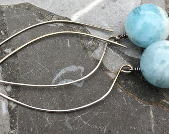 Long Sterling Silver Hoop Ear Wire with Aqua Marine Balls