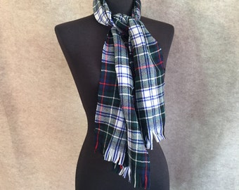 Vintage Tartan Scarf, Plaid Winter Scarf, Blue, Green, Red, White Scottish Highland Muffler, Men's or Women's, SALE