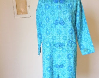 Vintage 60's Asian Style Coat, Turquoise and Teal Paisley Medallion Print, Women's Size Small to Medium