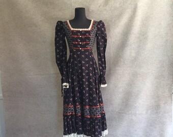 Vintage 80's Prairie Dress by GUNNE SAX, Navy Blue Floral, Lace Trim, Midi, Long Sleeve, Victorian, Prairie Style, Gypsy, Boho, XS