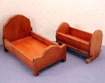 Dollhouse Doll Wood Furniture Wanner Grand Rapids Bedroom Bed Cradle USA Vintage 1930s