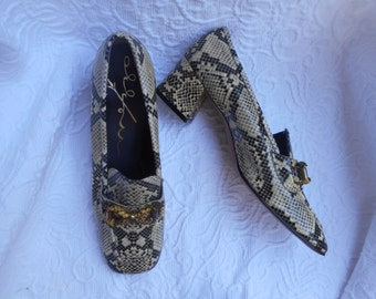 Vintage MEZZO Reptile  Design Women's Heels-Size 9b-New Old Stock Unworn-Squared  Toes Mod Retro
