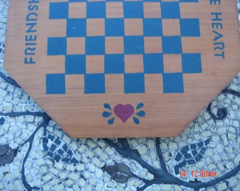 Vintage Hand Crafted Wood Checker Game Board with Wood Game Pieces - Sweet