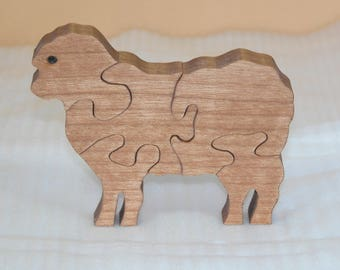 Child's Sheep Puzzle - New Baby Gift - Kid's Decor - Animal Puzzle - Wooden Sheep