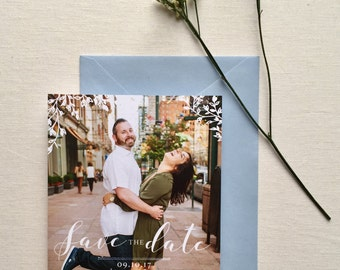 White Twiggy Save The Date Photo Card