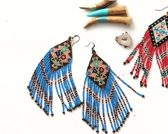 Fringe Beaded Earrings, Blue Beads, Floral, Large Dangle Earrings, Boho Jewelry, Statement Earrings Native American Beadwork