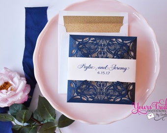 Sample - Square Laser Invitation for Wedding, Mitzvah or Party - shown in Matte Blush Pink and Blue Shimmer with Gold Glitter envelope liner