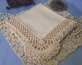 Heirloom Handkerchief, Hanky, Hankie, Victorian, Lace, Lacy, Hand Crochet, Ecru, Off white, Embroidered, Personalized, Monogram, Ships today