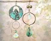 Scarab Asymmetric Earings OOAK Gemstone Tribal Assemblage African Turquoise Gemstone December January Birthstone Gypsy Statement Blue Green