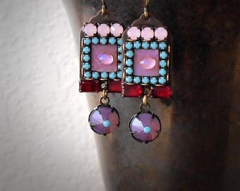 Pink Rhinestone Earrings Moonstone Earrings Violet Opal Turquoise Red Crystal Micro Mosaic Earrings Garden Wedding Vivid Exotic Multicolor