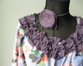 RESERVED - Shabby Chic Blouses, Floral Print Shirts, Tattered Ruffles Tops, Mori Girl Clothing, Upcycled Recycled Refashioned Clothing