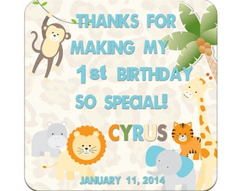 Personalized Happy Birthday Labels 1st Birthday Jungle Animals Square Glossy Labels -  Children Party Favors, Kids Special Events