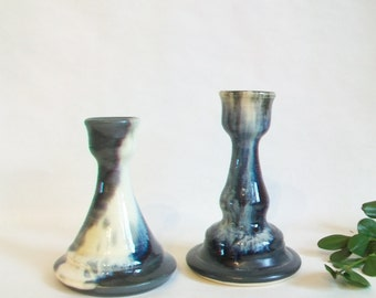 Candlestick Holders -- Black, White, Gray - Handmade on the Potters Wheel - Listing for the pair of Holders - Ready to Ship