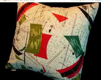 FAB SALE Vintage Retro Barkcloth Pillow Cover -- Diner Delicious 1950s -- Red Black Metallic Gold and Lime on Creamy White - LAST Two